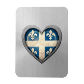 Quebecois Heart Flag Stainless Steel Effect Magnets