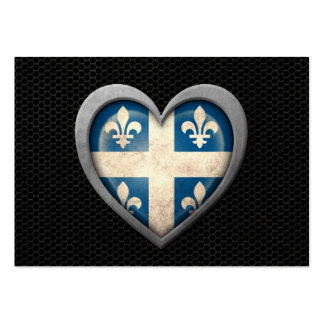 Quebecois Heart Flag Steel Mesh Effect Business Card Template