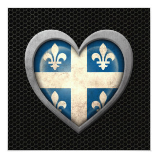 Quebecois Heart Flag Steel Mesh Effect 5.25x5.25 Square Paper Invitation Card