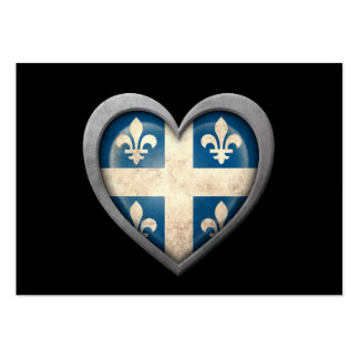 Quebecois Heart Flag with Metal Effect Business Card