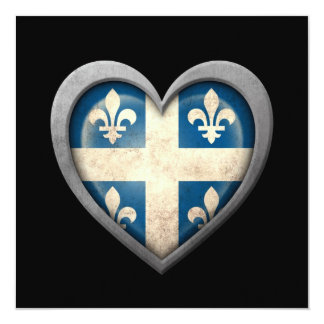 Quebecois Heart Flag with Metal Effect 5.25x5.25 Square Paper Invitation Card