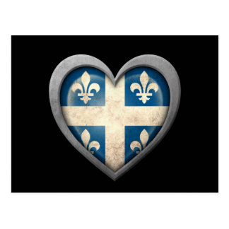 Quebecois Heart Flag with Metal Effect Postcard