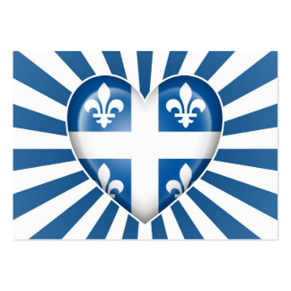 Quebecois Heart Flag with Star Burst Business Card Template