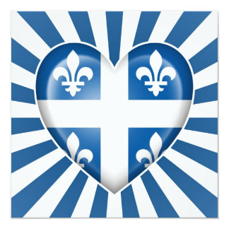 Quebecois Heart Flag with Star Burst 5.25x5.25 Square Paper Invitation Card