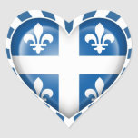 Quebecois Heart Flag with Star Burst Stickers