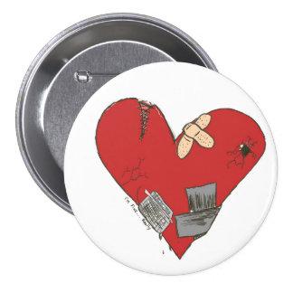 Quebrado-Corazón Pin Redondo De 3 Pulgadas