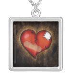 Quebrado/reparando el collar de plata de Corazón-S