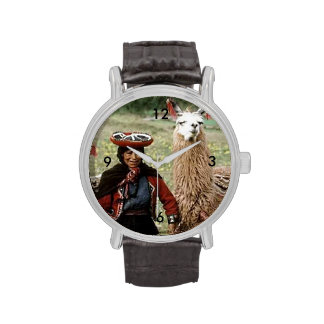 Quechua Woman with Two Llamas Photo Watch
