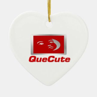 QueCute Double-Sided Heart Ceramic Christmas Ornament