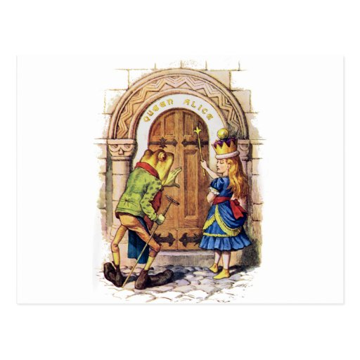QUEEN ALICE AND THE FROG AT THE CASTLE DOOR POSTCARD