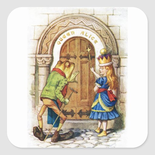 Queen Alice & the Frog in Wonderland Square Sticker