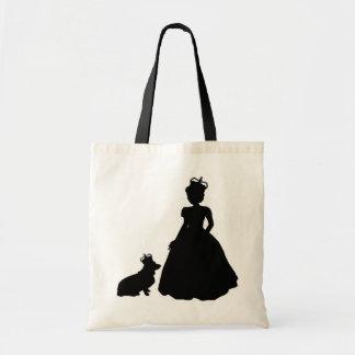 Queen and Corgi royal tote bag