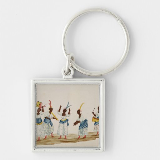 Queen and her Suite Silver-Colored Square Keychain