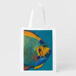 Queen Angelfish Art Grocery Bag Reusable Grocery Bag