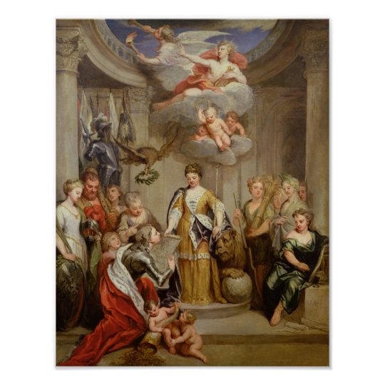 Queen Anne presenting plans of Blenheim military Poster