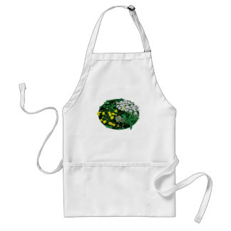 Queen Anne 's Lace and Yellow Flowers Adult Apron