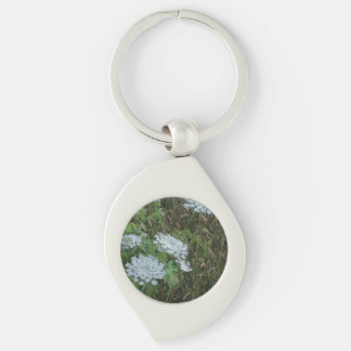 Queen Anne's Lace White Wild Flower Keychain
