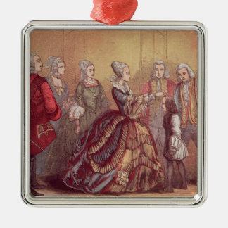 Queen Anne touching Dr. Johnson Metal Ornament