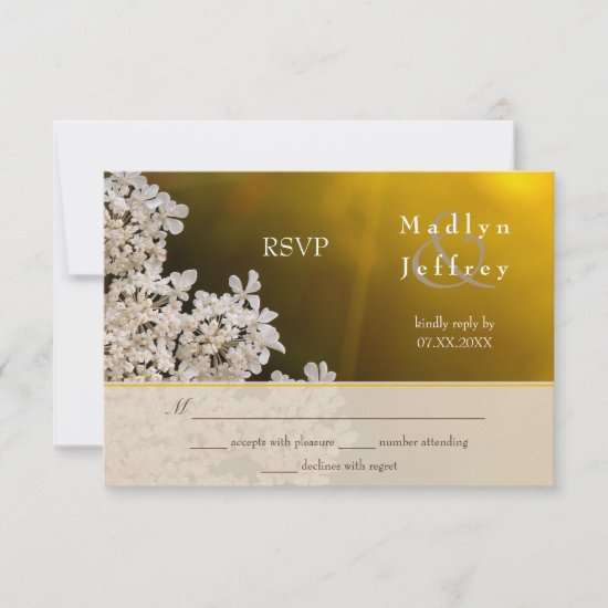 Queen Anne's lace distant sunlight wedding RSVP