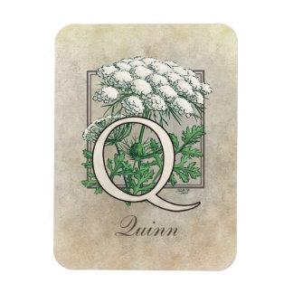 Queen Anne's Lace Floral Monogram Rectangular Photo Magnet