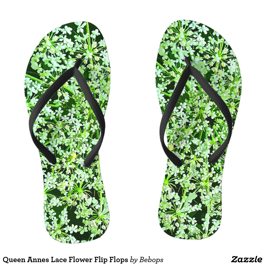 Queen Annes Lace Flower Flip Flops