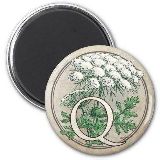 Queen Anne's Lace Flower Monogram 2 Inch Round Magnet