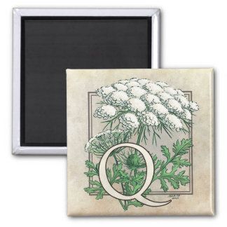 Queen Anne's Lace Flower Monogram 2 Inch Square Magnet