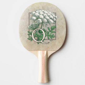 Queen Anne's Lace Flower Monogram Art Ping-Pong Paddle