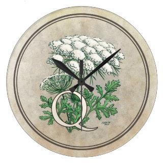 Queen Anne's Lace Flower Monogram Art Large Clock