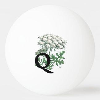 Queen Anne's Lace Flower Monogram Art Ping Pong Ball