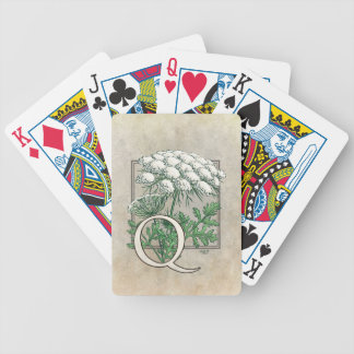 Queen Anne's Lace Flower Monogram Art Bicycle Playing Cards