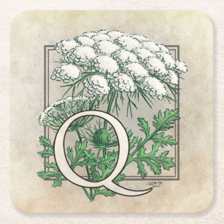 Queen Anne's Lace Flower Monogram Art Square Paper Coaster