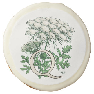 Queen Anne's Lace Flower Monogram Art Sugar Cookie