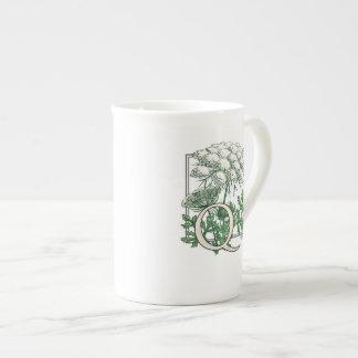 Queen Anne's Lace Flower Monogram Art Tea Cup