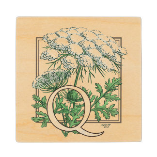 Queen Anne's Lace Flower Monogram Art Wood Coaster