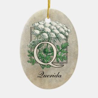 Queen Anne's Lace Flower Monogram Ceramic Ornament