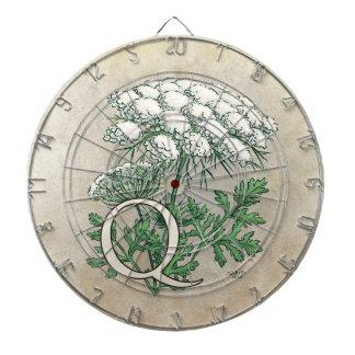 Queen Anne's Lace Flower Monogram Dartboard