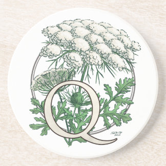 Queen Anne's Lace Flower Monogram Drink Coaster