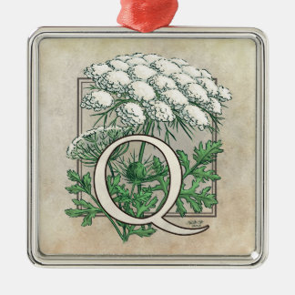 Queen Anne's Lace Flower Monogram Metal Ornament