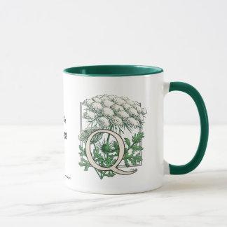 Queen Anne's Lace Flower Monogram Mug