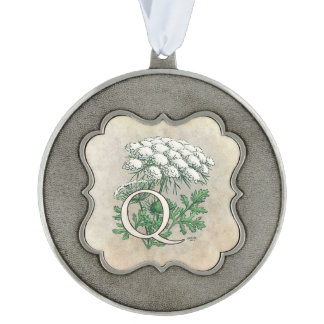Queen Anne's Lace Flower Monogram Pewter Ornament