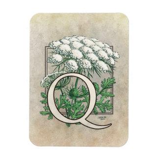 Queen Anne's Lace Flower Monogram Rectangular Photo Magnet