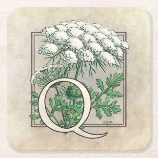 Queen Anne's Lace Flower Monogram Square Paper Coaster