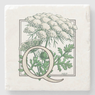 Queen Anne's Lace Flower Monogram Stone Coaster