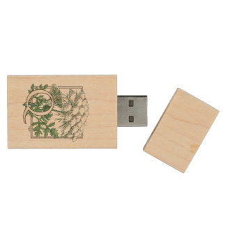 Queen Anne's Lace Flower Monogram Wood USB Flash Drive