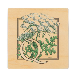 Queen Anne's Lace Flower Monogram Wooden Coaster