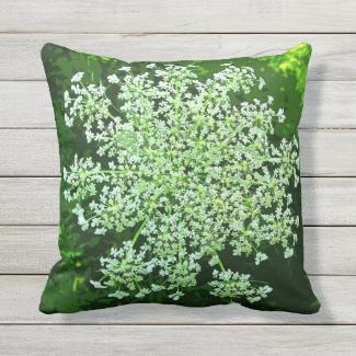 Queen Annes Lace Flower Outdoor Pillow