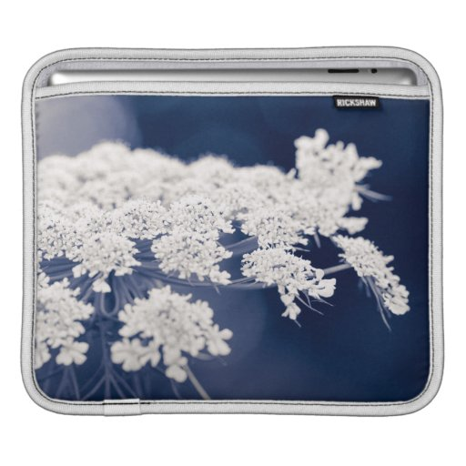 Queen Anne's Lace Flowers Blue iPad Sleeve