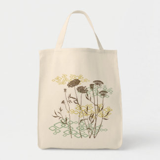 Queen Anne's Lace In White Breeze Grocery Tote