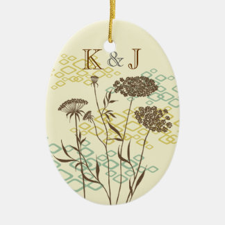 Queen Anne's Lace Romantic Custom Oval Ornament
